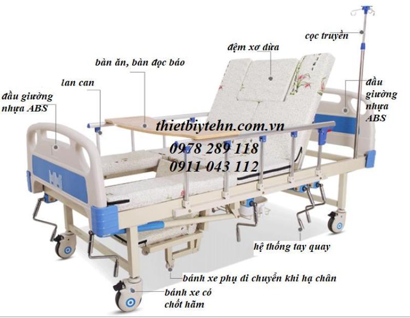 Giường y tế đa năng -Giường bệnh nhân 5 tay quay HL2