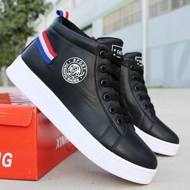 Giày cổ cao da nam Fashion sport gót hình cờ có 2 màu - B end T Shop giá rẻ