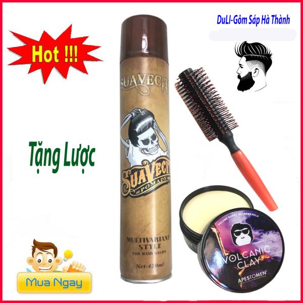 [TẶNG LƯỢC]COMBO GÔM XỊT TÓC SUAVECITO 420ML SIÊU GIỮ NẾP + SÁP VOLCANIC CLAY+tặng kèm lược tạo kiểu / sáp vuốt tóc/ wax vuốt tóc