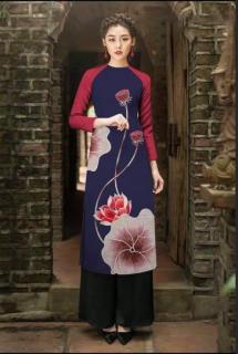 Áo dài cách tân in hoa sen cao cấp - KHÔNG KÈM QUẦN thumbnail