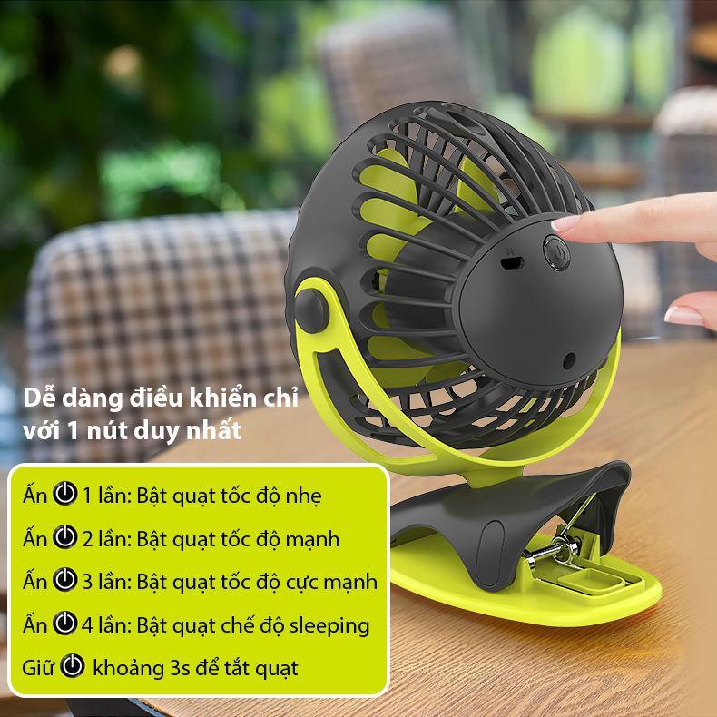 Quạt sạc mini xoay góc 720 độ đế kẹp đa năng hoặc đặt bàn an toàn cho trẻ với 4 nấc điều chỉnh gió (6400mAh) YOOBAO F04