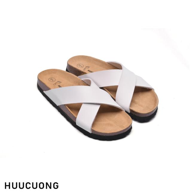 Dép HuuCuong quai chéo trắng đế trấu giá rẻ