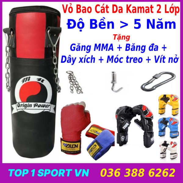 Combo vỏ bao cát đấm bốc boxing dây xích + Găng tay MMA hở ngón + Băng đa cuốn tay + Móc treo + Dây xích - combo 7 món
