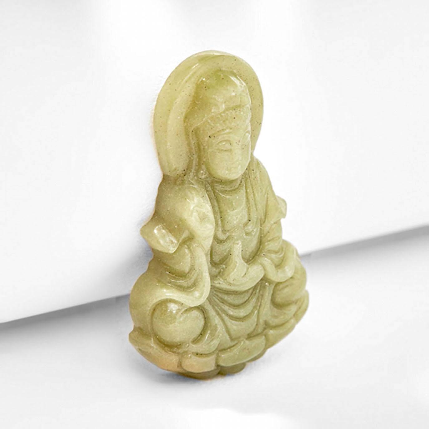 Mặt Dây Chuyền Phật Đá Dạ Minh Châu Bà Quan Âm Mệnh Mộc Hoả (màu xanh) - Ngọc Quý Gemstones