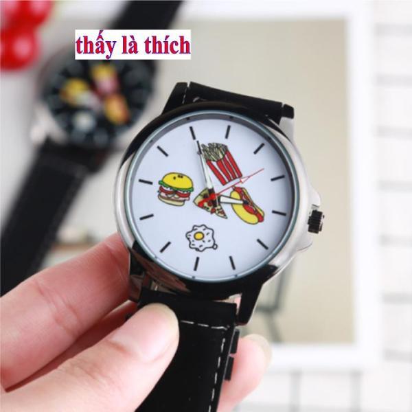 Đồng hồ Unisex mặt họa tiết thức ăn nhanh
