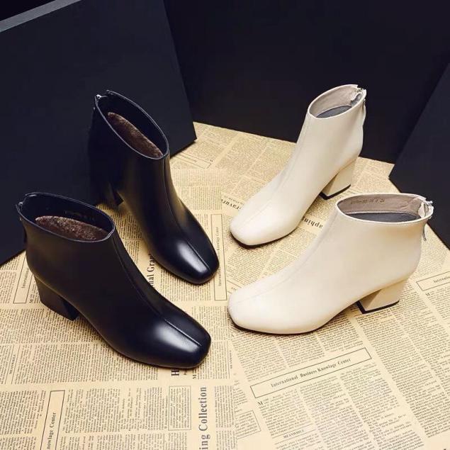 Giày bốt nữ công sở chất da đẹp - giày nữ giày boot nữ boots giày cao gót đế vuông nữ màu đen màu kem phong cách hàn quốc giá rẻ dễ phối đồ giá rẻ