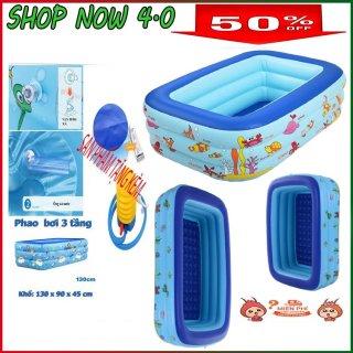 [TẶNG BƠM+KEO+VÁ] Bể Bơi Cho Bé 3 Tầng 1m35, có đáy chống trượt, chất dày dặn nhựa PVC, Bảo Vệ Sức khoẻ, An Toàn Cho Bé Yêu Nhà Bạn, được bảo hành bởi SHOPNOW 4.0 thumbnail