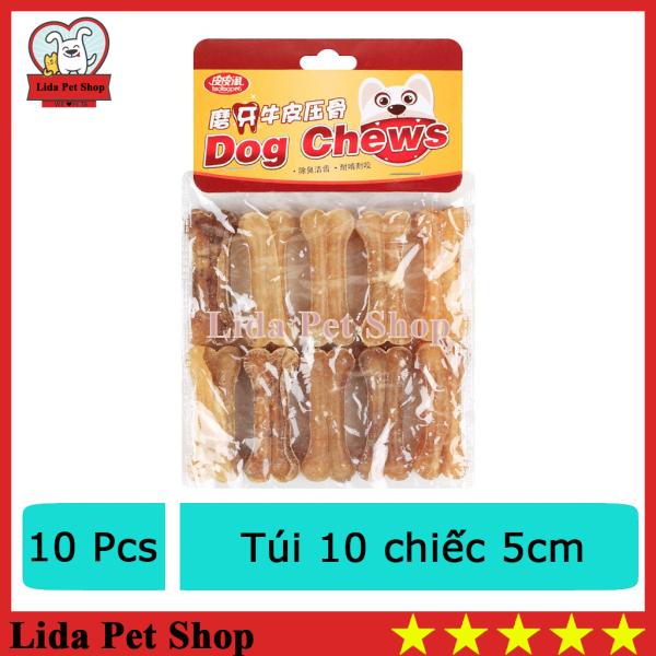 HN- Xương da bò cao cấp dành cho chó gặm sạch răng, khử mùi hôi miệng - Túi 10 chiếc 5cm