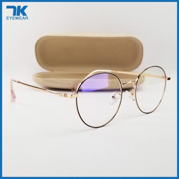 Mua [HCM]Gọng kính nam nữ mắt cận tròn kim loại màu đen bạc vàng hồng 29203. Tròng giả cận 0 độ chống ánh sáng xanh chống tia UV. Eyeglasses frames for men/women. Blue-Light-Blocking-Glasses.