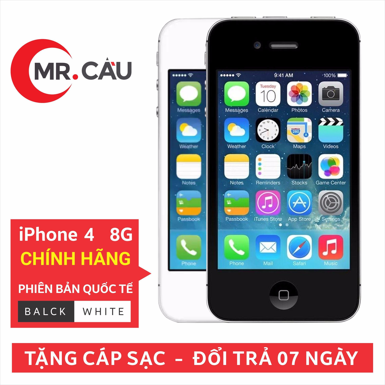 Điện thoại smartphone giá rẻ - i PHONE 4 - 8GB QUỐC TẾ - MR CAU - Màu ngẫu nhiên trắng hoặc đen