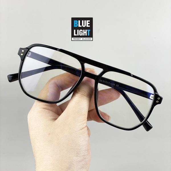 Giá bán Kính Giả Cận, Gọng Kính Cận Nam Nữ Mắt Vuông Khung Ngang Liền Nhựa Không Độ Hàn Quốc - BLUE LIGHT SHOP