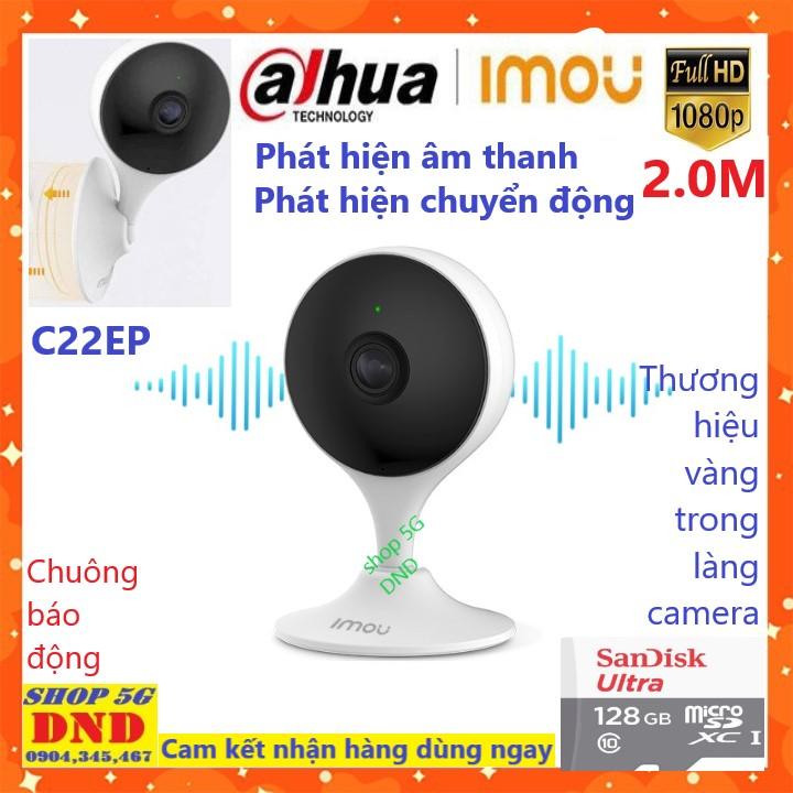 """(Kèm thẻ 128GB, 64GB tùy chọn) DAHUA Camera IP WIFI IMOU CUE2 C22EP - Phát hiện âm thanh - Phát hiện chuyển động LENS FISH EYE GÓC QUAN SÁT SIÊU RỘNG - Cảm biến CMOS 1/2.7""""2 MP - BH chính hãng 2 năm (Shop 5G DND BH 5 năm)"""