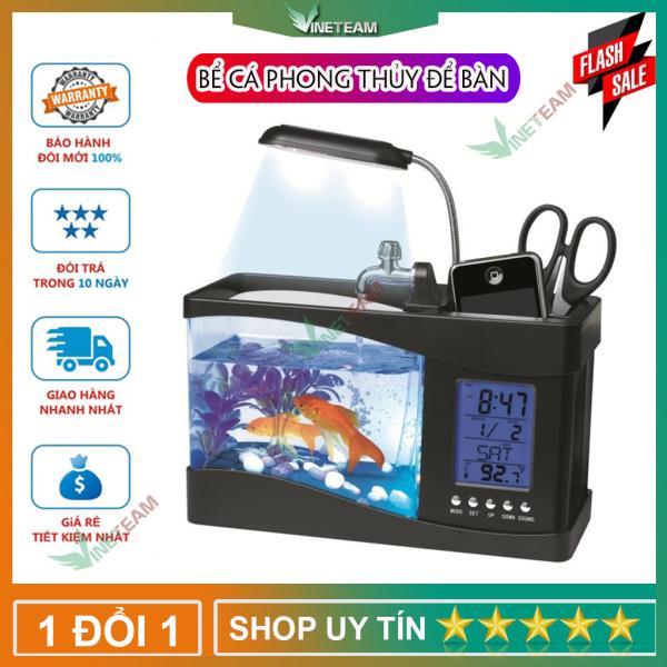 Bể cá mini siêu đẹp để bàn làm việc đa năng có đèn led đồng hồ lọc nước hộp đựng bút