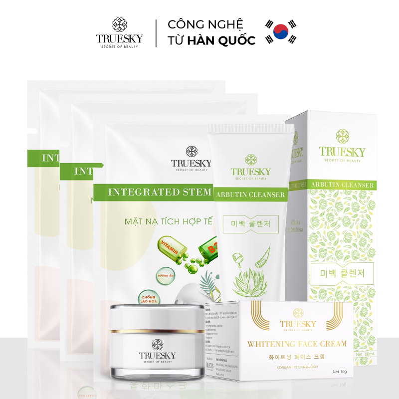 Bộ dưỡng trắng da mặt Truesky P02 gồm 1 kem dưỡng trắng da mặt 15g & 1 sữa rửa mặt trắng da chiết xuất nha đam 60ml & 3 miếng mặt nạ dưỡng trắng da mặt