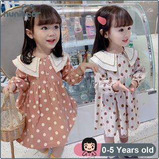Váy Bé Gái Đầm Chấm Bi Chấm Bi Cho Bé Gái, Tay Áo Dài Vải Cotton Đầm Công Chúa Từ 0-5 Tuổi