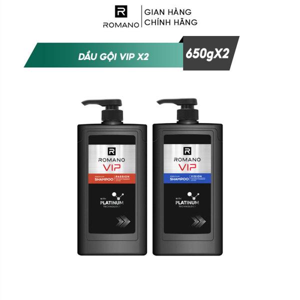 Combo 2 Dầu gội cao cấp Romano Vip 650g/chai Passion + Vision nhập khẩu
