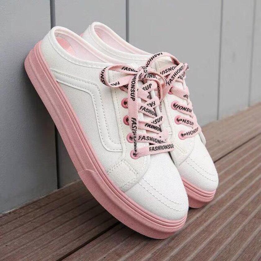 (Video)Giày sục nữ giày thể thao sneaker nữ độn đế hồng kiểu dáng cổ điển FS thời trang giá rẻ