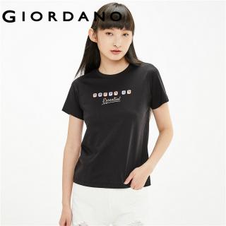 Áo Thun Tay Ngắn T-shirt Nữ GIORDANO FORM Cổ Tròn In họa tiết chữ 100% cotton Mềm mại 05391204 thumbnail