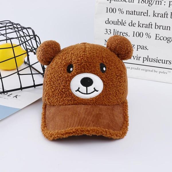 Giá bán Nón Kết Gấu Có Chuông Dễ Thương Cho Bé Từ 1-5 Tuổi, Mũ Trẻ Em Hình Gấu Brown