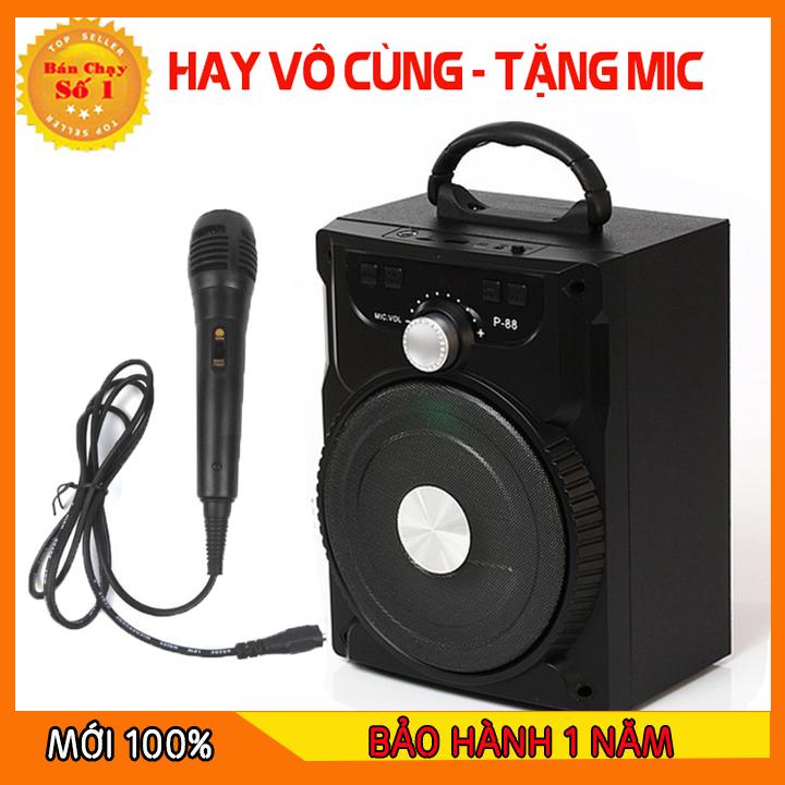 [HÀNG XỊN] Loa Kẹo Kéo Có Mic Hát Karaoke Nghe Nhạc Bluetooth, Loa bluetooth, loa kraoke cắm thẻ nhớ, nghe đài FM Siêu Hay - Tặng kèm Mic