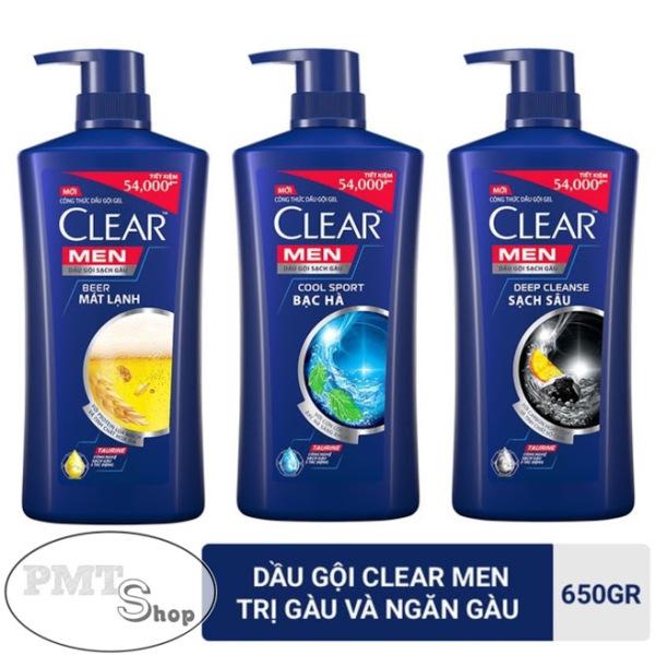 1 chai Dầu gội sạch gàu Clear Men 650g COOL SPORT | DEEP CLEANSE | BEER Bạc hà sạch sâu mát lạnh