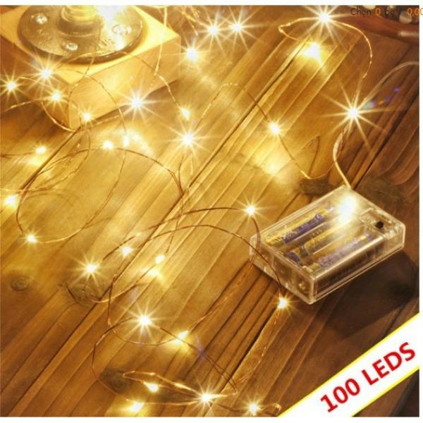 Đèn LED Đom Đóm 100 Bóng Dài 10m Chạy Bằng Pin Trang Trí Nhà Cửa