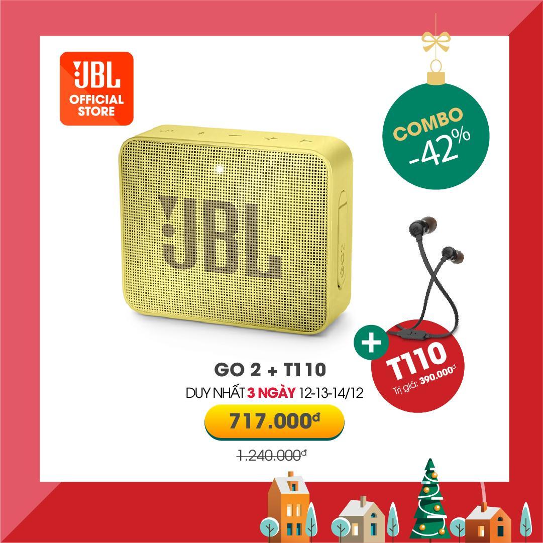 Siêu Tiết Kiệm Khi Mua Combo JBL Loa Bluetooth Go 2 Bass Hay Nhỏ Gọn Chống Nước IPX7 + Tai Nghe T110 Êm Tai Âm Thanh Chân Thực - Hàng Chính Hãng