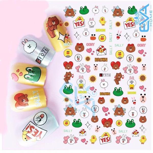 Miếng Dán Móng Tay 3D Nail Sticker Hoạt Hình Gấu Nâu Thỏ Hồng F076