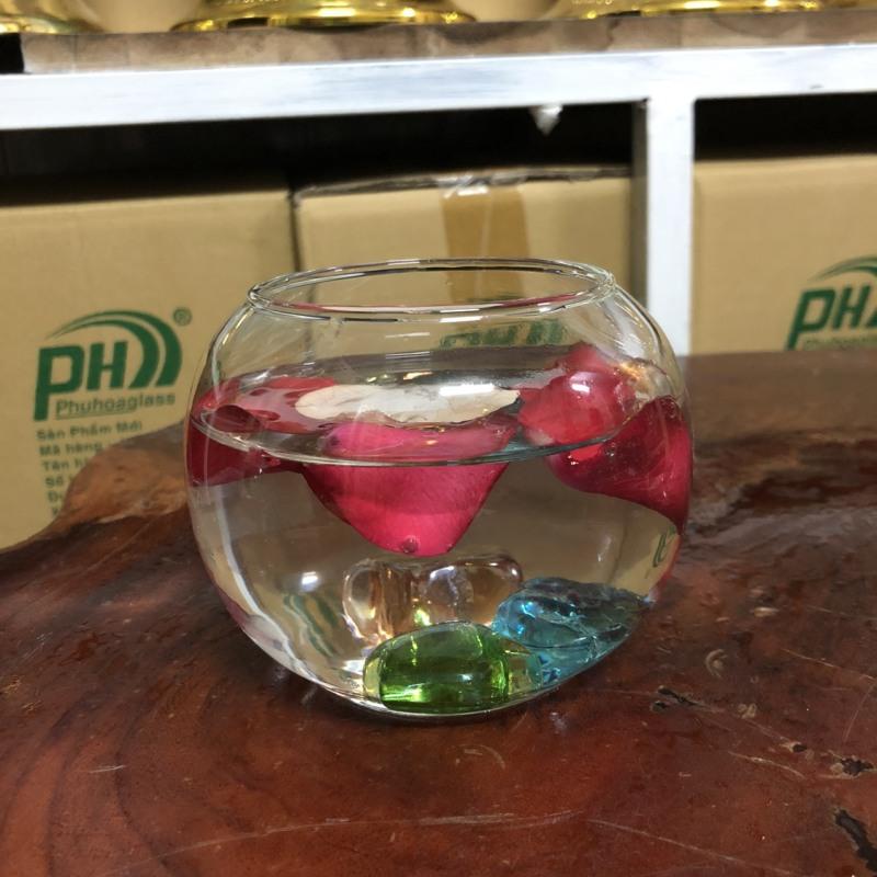 Bình thủy tinh nuôi cá để bàn, Hồ cá thủy tinh mini,Bình thủy tinh trồng cây thủy sinh,chậu cây cảnh thủy tinh mẫu  T07(D10cm*H8cm)