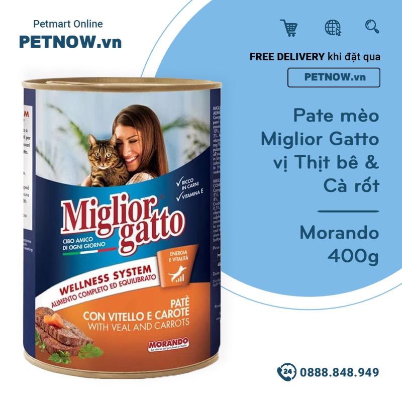 Pate mèo Miglior Gatto vị Thịt bê & Cà rốt 400g - Morando petnow