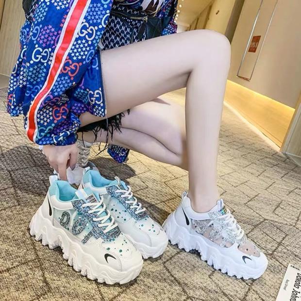 giày nữ/ giày sneaker nữ đế răng cưa 100 đính đá lấp lánh cực đẹp mẫu hot 2020 giá rẻ