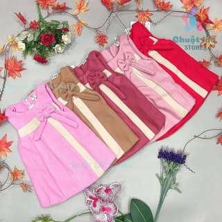 Đầm váy bé gái, váy dạ cho bé gái, váy chữ A kiểu sát nách có nơ xinh cho bé từ 10kg đến 22kg (màu đỏ, hồng, nâu)