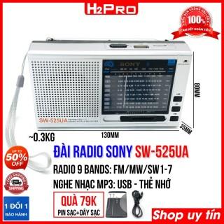 Đài radio FM SW-525UA H2Pro 9 Bands Quốc tế FM, MW, SW1-7, đài radio sạc điện, có USB-Thẻ nhớ làm máy nghe nhạc mp3 (tặng pin sạc và dây sạc 79K) thumbnail
