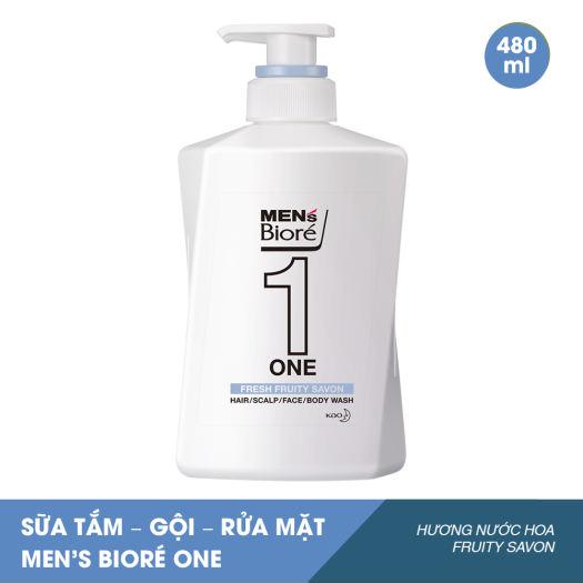 Sữa Tắm - Gội - Rửa Mặt Men's Bioré One Hương Nước Hoa Fruity Savon 480ml -  Xà phòng và gel tắm | TheFaceHolic.com