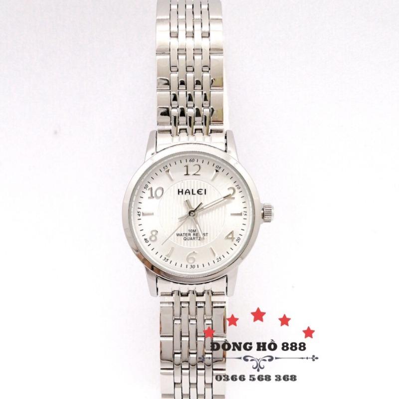 Đồng hồ nữ HALEI dây kim loại thời thượng dây trắng mặt trắng  - HL484