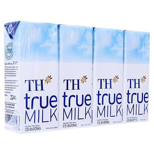 Sữa tươi tiệt trùng TH True Milk có đường lốc 4 hộp x 180ml