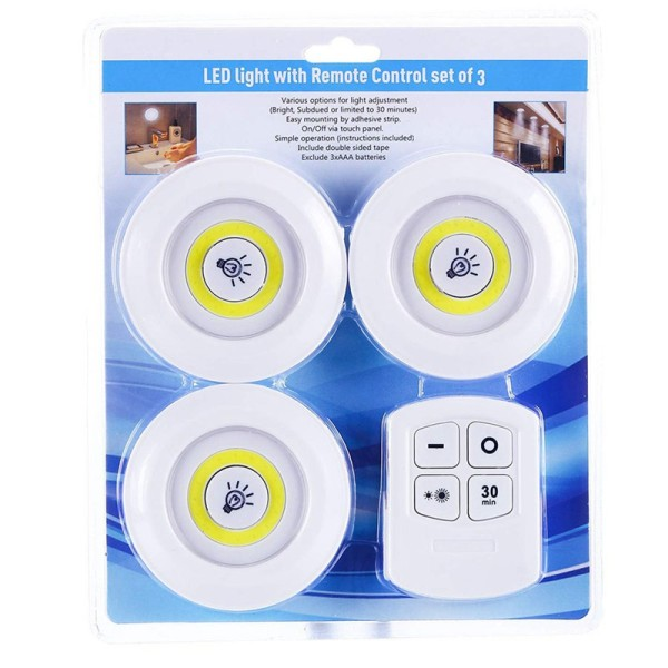 [HCM][SALE 1 NGÀY DUY NHẤT ] Bộ 3 đèn led cảm ứng hồng ngoại siêu sáng thông minh dán tường tiện lợi gắn Tủ quần áo Tủ bếp Tủ rượu .... + Tặng kèm điều khiển có hẹn giờ