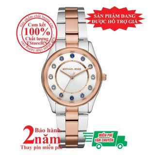 Đồng hồ nữ Michael Kors Colette MK6605, Vỏ, mặt và dây màu Bạc và Vàng hồng (Rose Gold & Silver), cọc số đính đá pha lê Swarovski, size 34mm - MK6605 thumbnail