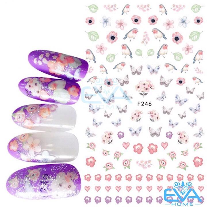 Miếng Dán Móng Tay 3D Nail Sticker Tráng Trí Hoạ Tiết Bướm Butterfly F246 tốt nhất