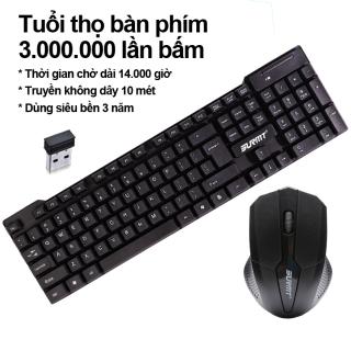 Bàn phím chuột không dây 2.4G Phím Bấm Êm Và Đàn Hồi bàn phím máy tính không dây Sử Dụng Được Cho Laptop Và PC Bảo hành 12 Tháng ILEPO M6 bàn phím và chuột không dây thumbnail