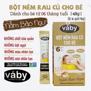[VOUCHER 85K] Bột nêm Nấm Bào Ngư & Phô Mai dành cho bé ăn dặm VABY Hộp 48g (6 x gói 8g) - Gia vị nêm và rắc dành cho bé từ 6 tháng tuổi thumbnail