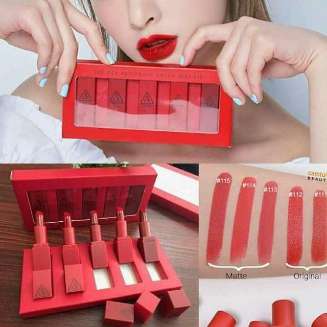 Set son thỏi 3 CE Red mini (tone đỏ)