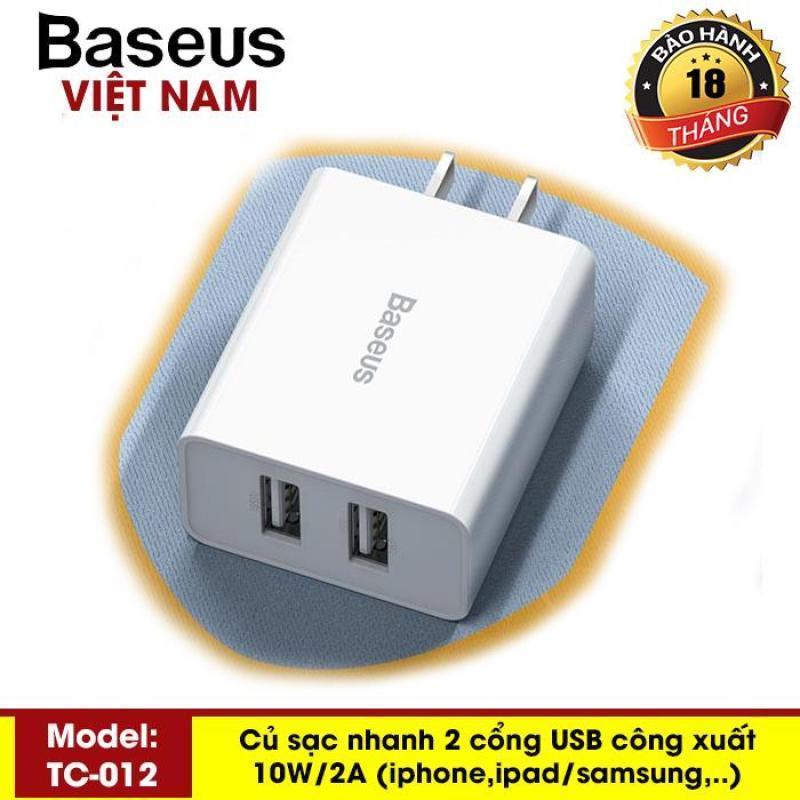 Giá Bộ sạc du lịch USB kép tốc độ 10,5W Baseus TC012 cho iPhone iPad Máy tính bảng điện thoại thông minh Samsung/Xiaomi/huawei/Oppo/Vivo - Phân phối bởi Baseus Vietnam
