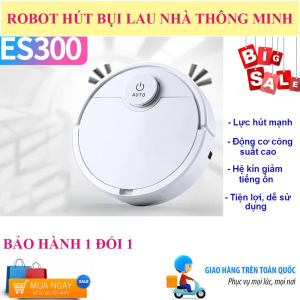 Robot Hút Bụi Tự Động  Thông Minh ES300, Robot Hút Bụi Lau Nhà , Robot Tự Động Lau Nhà ES300. Tự Động Phát Hiện Khi Gặp Các Vật Cản , Dễ Dàng Làm Sạch Các Vị Trí Khó Như Gầm Giường, Tủ, Robot Vận Hành Êm Ái Không Có Tiếng Ồn. Giá Cực