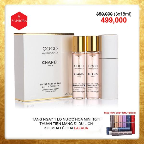 Bộ Combo 3 Nước Hoa Du Lịch Coco Chanel Mademoiselle 18ml BAO TEST-[SIÊU SALE]