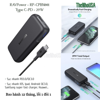 Sạc dự phòng RAVPower 10000mAh 29w (RP-CPBN001) thumbnail