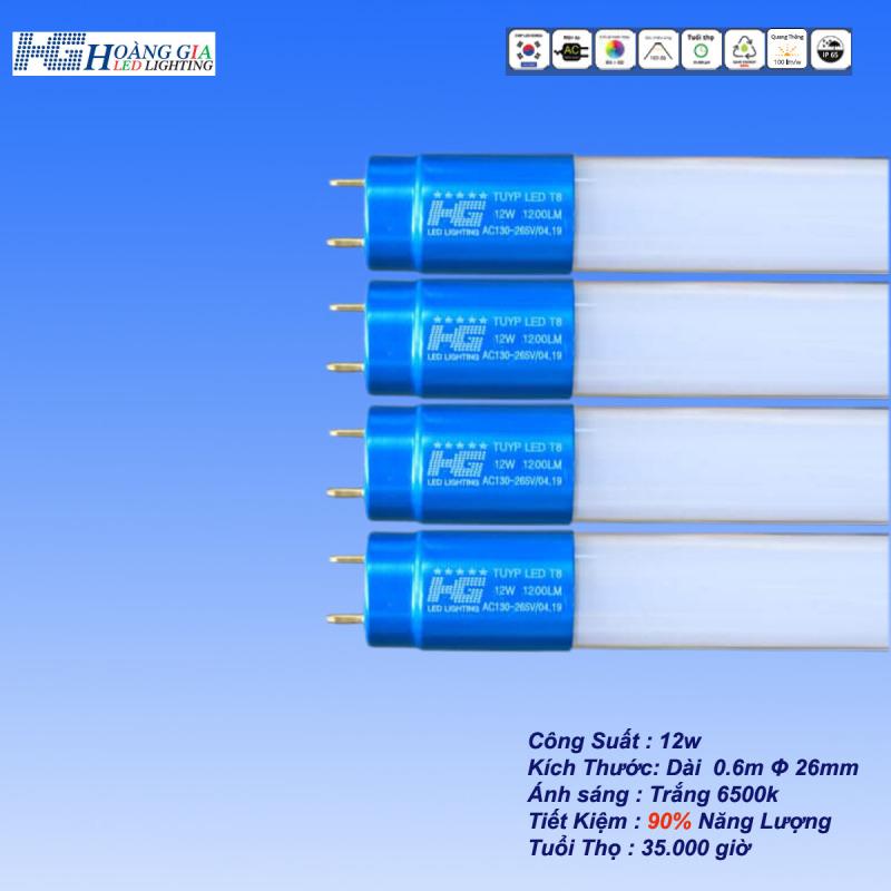 Combo 4 Bóng Đèn Led Tuýp 12W  Dài 0.6m Thủy Tinh Đầu Nhôm