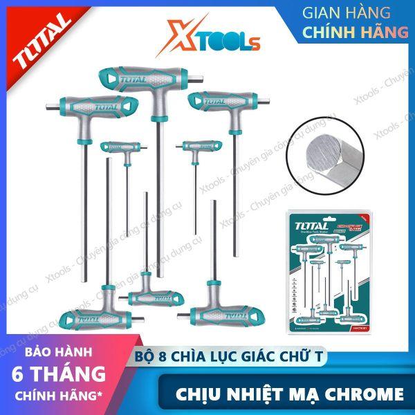 Bộ 8 chìa lục giác bằng tay cầm chữ T TOTAL THHW8081 chịu nhiệt Lục giác Chất liệu Cr-V,có tay cầm thiết kế kiểu mới, mạ Crom [XTOOLs] [XSAFE]