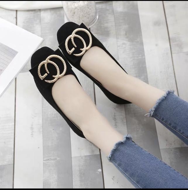 Giày búp bê nữ phối khoá chất da mềm êm chân giá rẻ