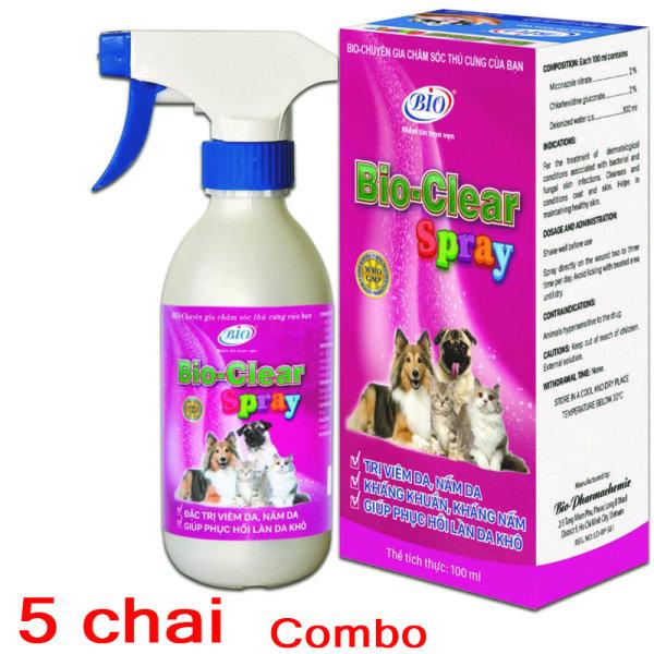 [HCM]Combo 5 Chai xịt BIO- CLEAR SPRAY viêm da nấm da phục hồi da tổn thương cho chó mèo-79209